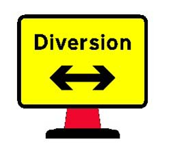 Portable Road Works Signs | Road Cone Signs | 1050 x750mm Cone sign Diversion Reversible Arrow