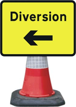 Portable Road Works Signs | Road Cone Signs | 1050x750mm Diversion - Arrow Left