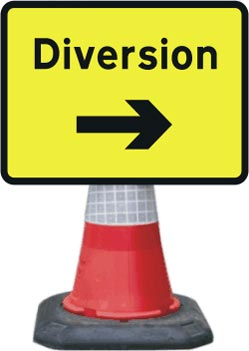 Portable Road Works Signs | Road Cone Signs | 1050x750mm Diversion - Arrow Right