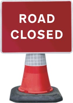 Portable Road Works Signs | Road Cone Signs | 1050x750mm Road Closed
