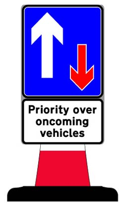 Portable Road Works Signs | Road Cone Signs | 400x700mm Priority Sign