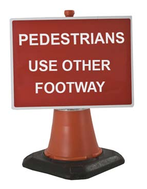 Portable Road Works Signs | Road Cone Signs | 600x450mm Cone Sign Pedestrians Please Use Other Footway