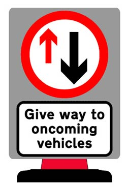 Portable Road Works Signs | Road Cone Signs | 700x950mm Priority Give Way Sign