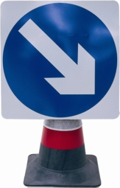 Portable Road Works Signs | Road Cone Signs | 750mm Cone Sign Directional Arrow Fixed Right