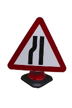 Portable Road Works Signs | Road Cone Signs | 750mm Cone Sign Road Narrows Left
