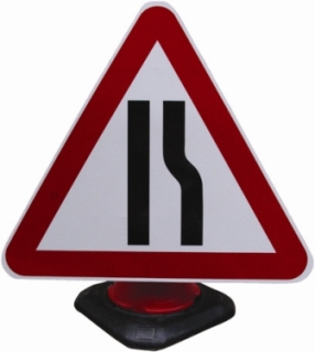 Portable Road Works Signs | Road Cone Signs | 750mm Cone Sign Road Narrows Right