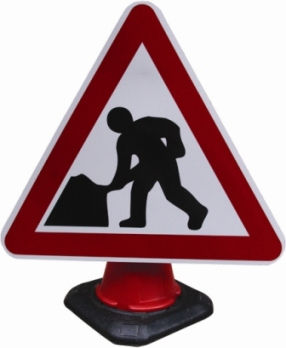 Portable Road Works Signs | Road Cone Signs | 750mm Men at Work Cone Sign