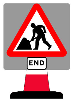 Portable Road Works Signs | Road Cone Signs | 750x750mm Works End