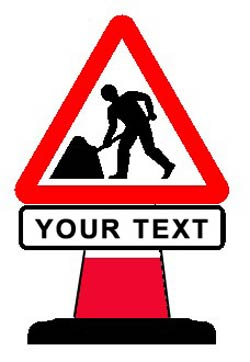 Portable Road Works Signs | Road Cone Signs | 850x1000mm Works Sign with Single line