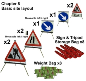 Portable Road Works Signs | Roll Up Tripod Signs | Chapter 8 Roadwork Sign Pack 750mm