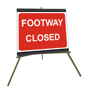 Portable Road Works Signs | Roll Up Tripod Signs | Footway Closed 600mm x 450mm
