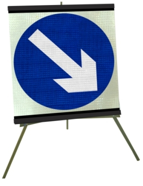 Portable Road Works Signs | Roll Up Tripod Signs | Keep Left or Right Moveable Flexible Roll-up Sign