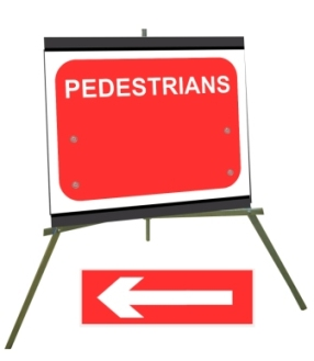 Portable Road Works Signs | Roll Up Tripod Signs | Pedestrians with Moveable Arrow 600mm x 450mm