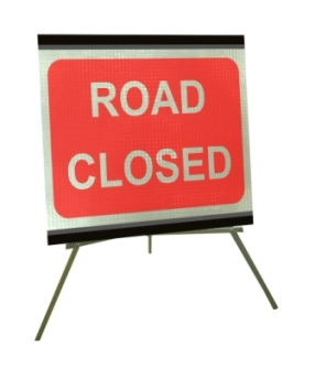 Portable Road Works Signs | Roll Up Tripod Signs | Road Closed 1050mm x 750mm