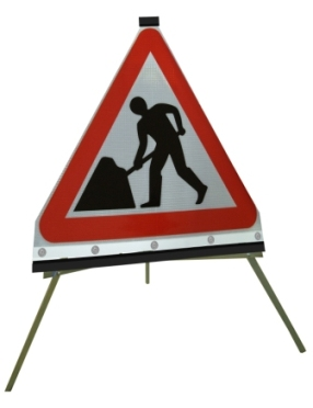 Portable Road Works Signs | Roll Up Tripod Signs | Triangle - Men At Work Flexible Roll-up Sign