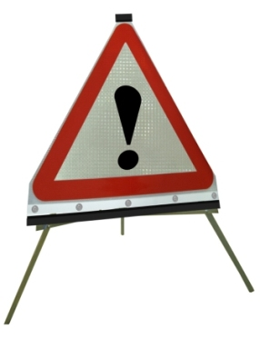 Portable Road Works Signs | Roll Up Tripod Signs | Triangle Flexible Roll-up Sign Face ! Warning