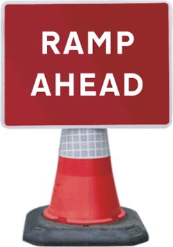 Portable Road Works Signs | Road Cone Signs | 1050x750mm Ramp Ahead