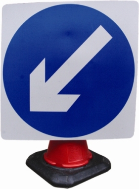 Portable Road Works Signs | Road Cone Signs | 750mm Cone Sign Directional Arrow Fixed Left
