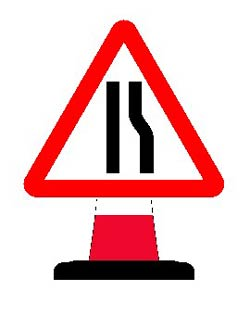 Portable Road Works Signs | Road Cone Signs | 750mm Cone sign Road Narrows with Reversible