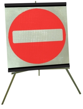 Portable Road Works Signs | Roll Up Tripod Signs | No Entry Symbol Flexible Roll-up Sign