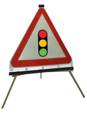 Portable Road Works Signs | Roll Up Tripod Signs | Traffic Light Symbol Triangle Flexible Roll-up Sign