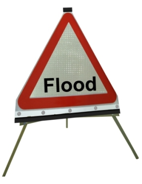 Portable Road Works Signs | Roll Up Tripod Signs | Triangle - Flood Flexible Roll-up Sign